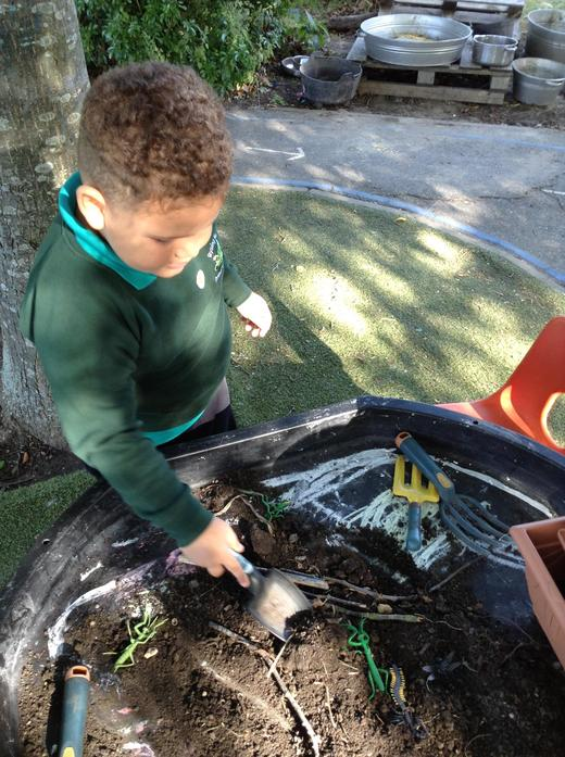 Digging and exploring with soil