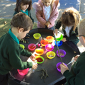 We poured, scooped and mixed to make magic potions