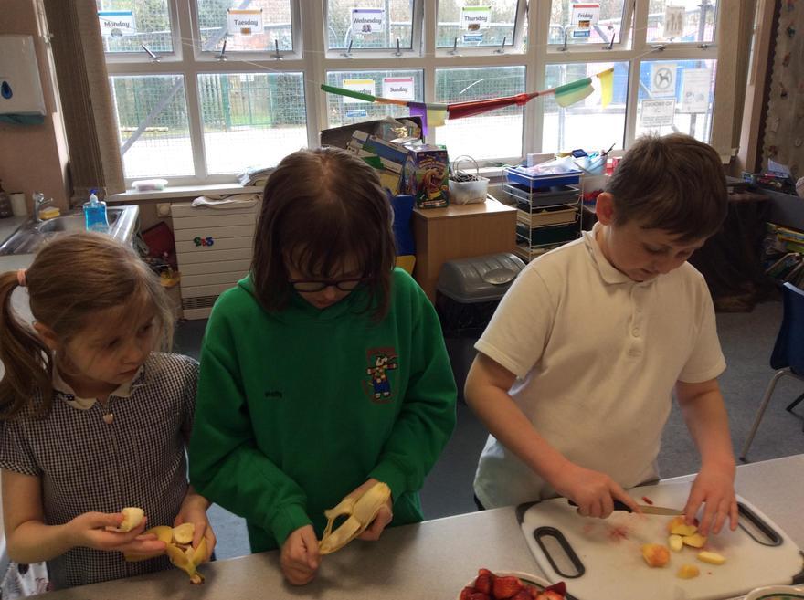 Chopping fruit