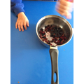 mashing up the last blackberries of the season