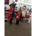 Giving out leaflets to customers