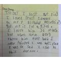 Amelia's diary entry