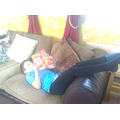 Jared's reading position - relaxed!