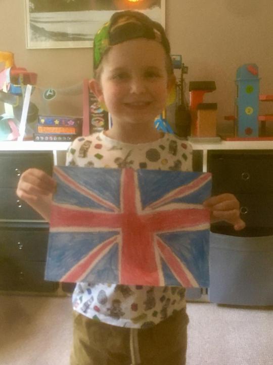 A Union Jack flag drawn  all by himself!