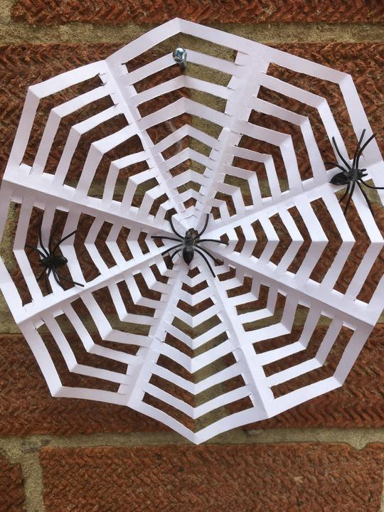 Origami web with spiders!
