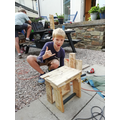 Joe learning some carpentry skills