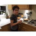 Max baking a delicious cake!