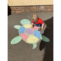 I've been drawing chalk pictures for my little boy