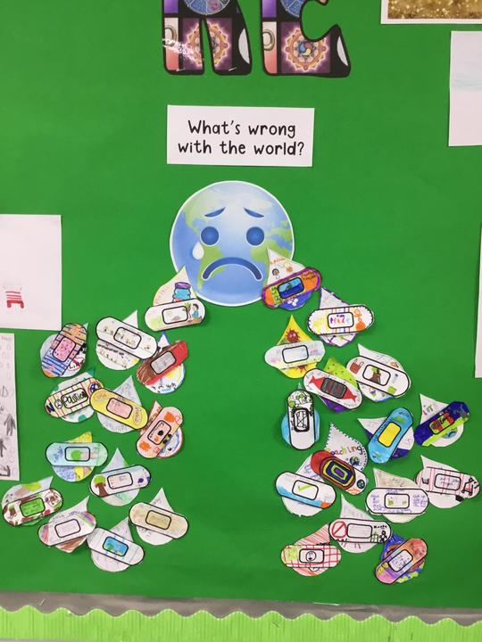 We learnt about the Jewish teaching: tikkun olam and wrote how we can 'mend' the world.