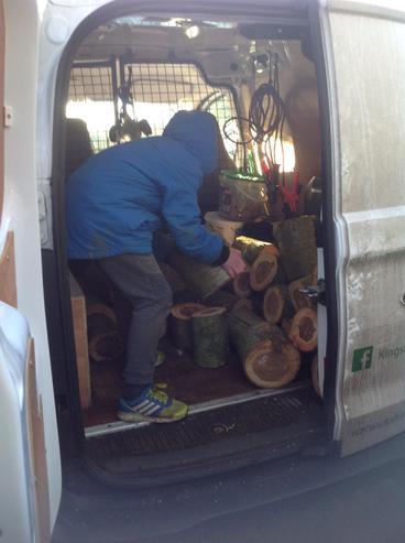 Loading up the van.