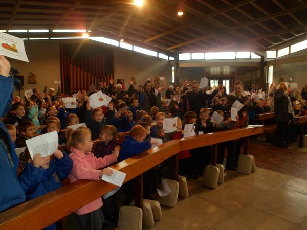 3. Singing together to say thank you for Harvest