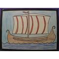 Viking Ship - hand drawn