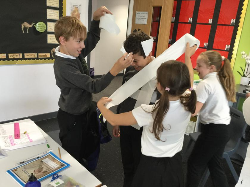 We used toilet roll to mummify our friends.