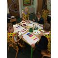 Mixing colours for our Crazy Creature paint shop