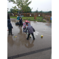 Making bubbles in the rain!