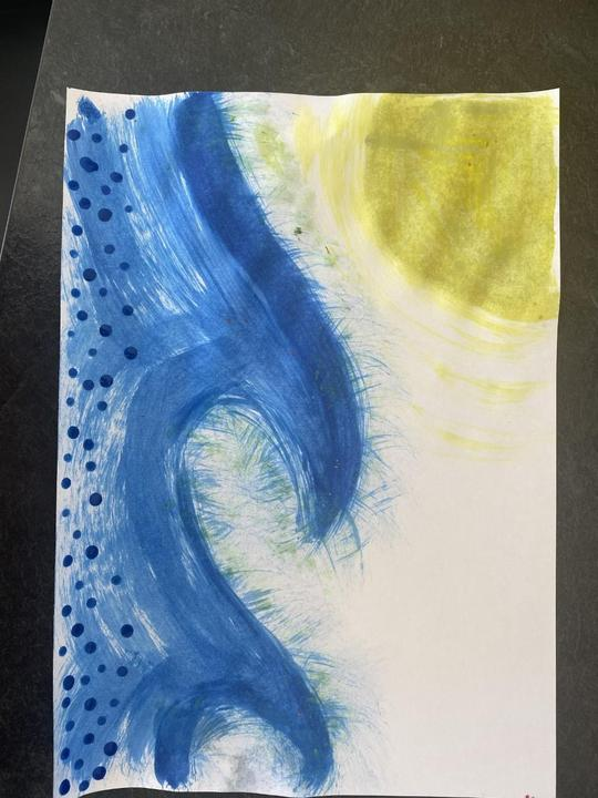 I used a: paintbrush, sponge, stick and my finger!