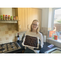 Miss Reeves baking brownies for the neighbours