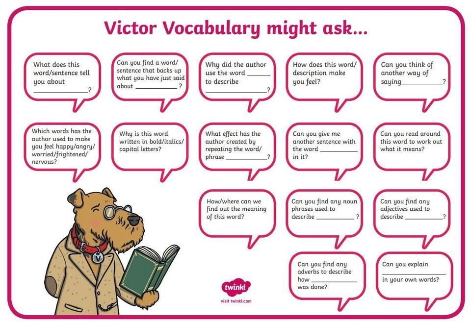Questions which help highlight vocabulary and word choices
