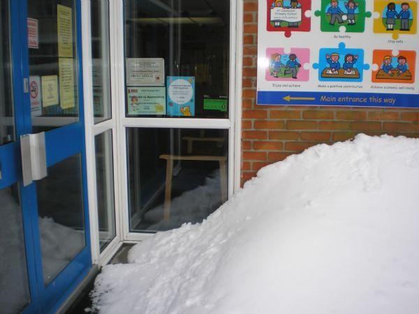 Our school entrance covered in snow