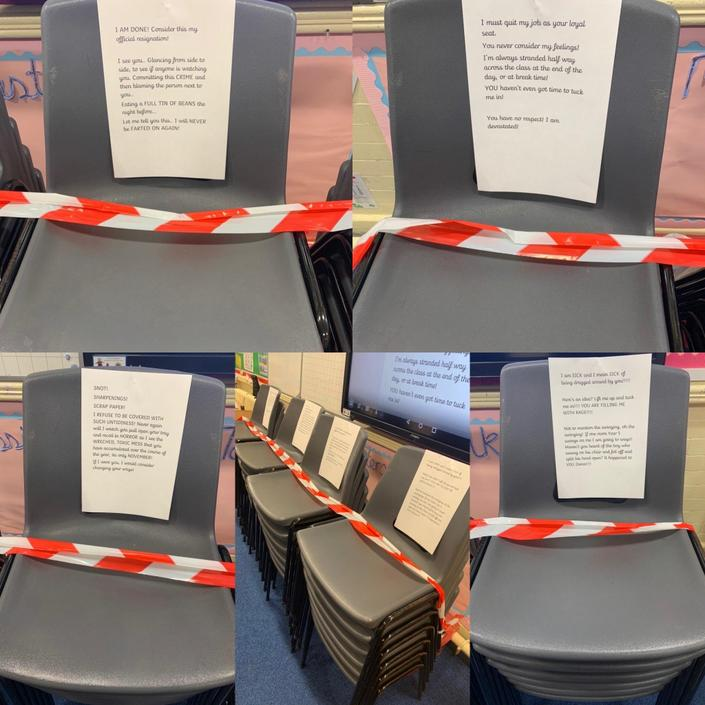 Talk 4 Writing- our chairs quit!  We wrote letters on behalf of our chairs!