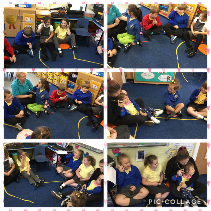 Circle time phoning our friends.