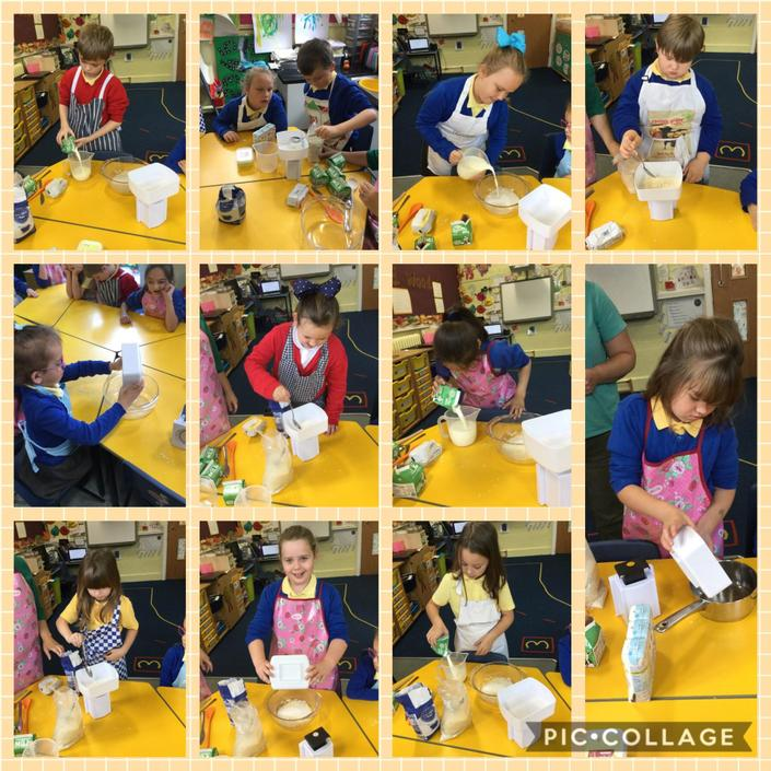 Measuring our ingredients for rice pudding.