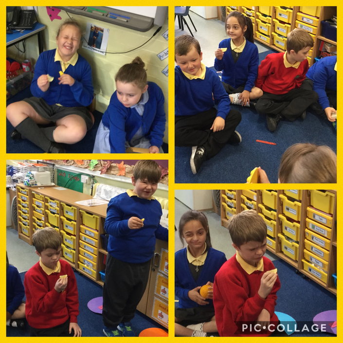 Exploring our yellow sensory box - tasting lemons