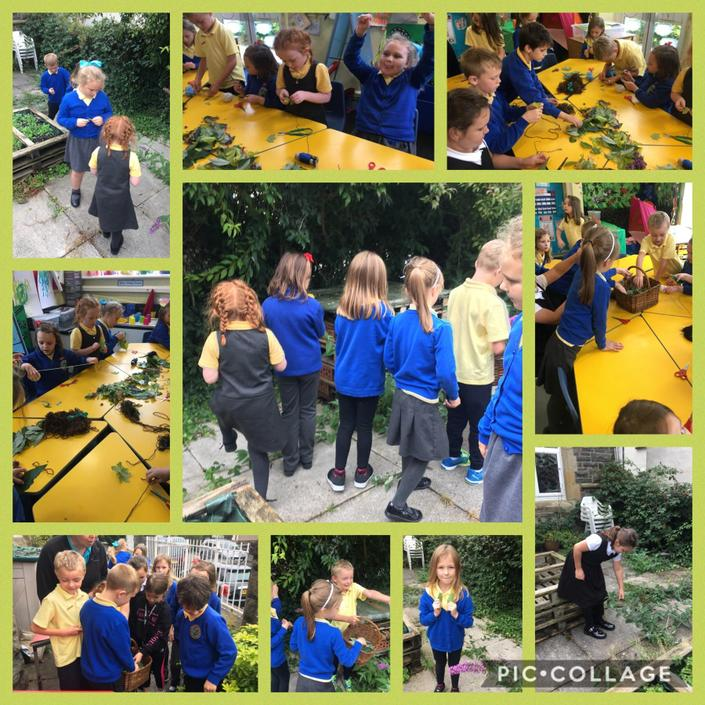 Finding leaves and making our jewellery.