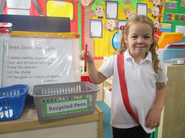 We recycle pens in the classroom
