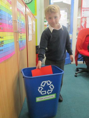 We recycle paper and card in our blue bins