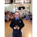 Darcie with her reading prize