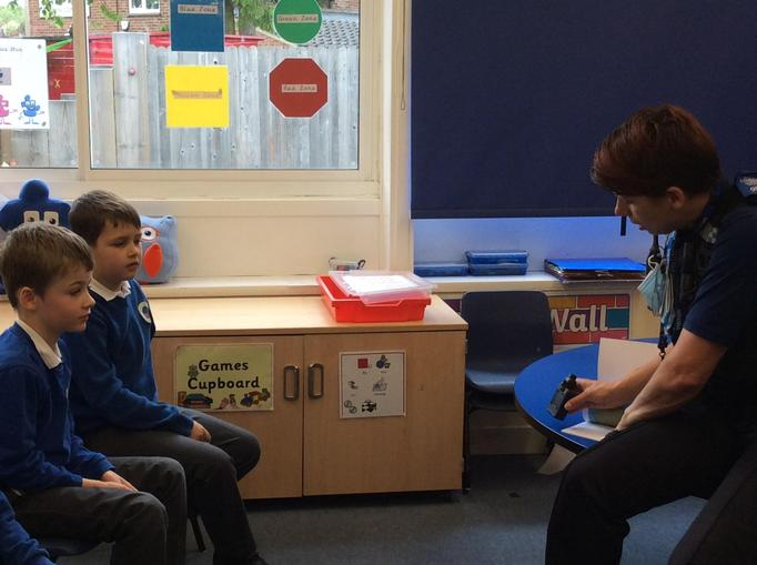 They shared the book PC Ben with the children too.