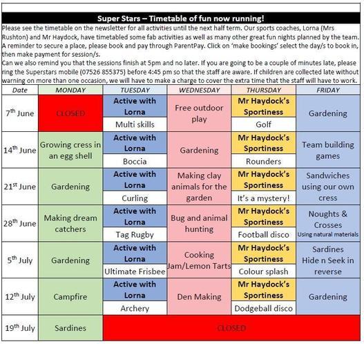 Superstars timetable