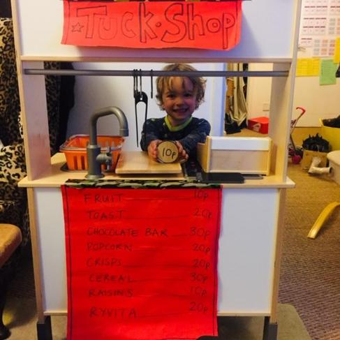 Role play shop for real snacks!