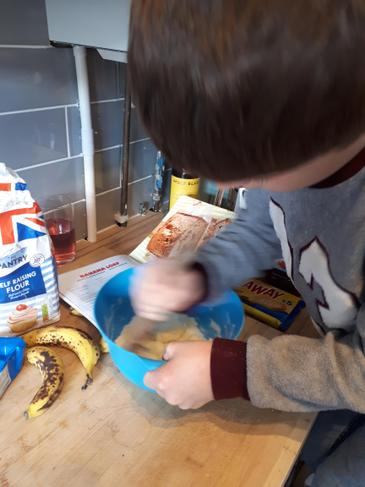 Smashing the banana for baking