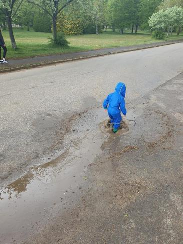 Muddy puddle splashing