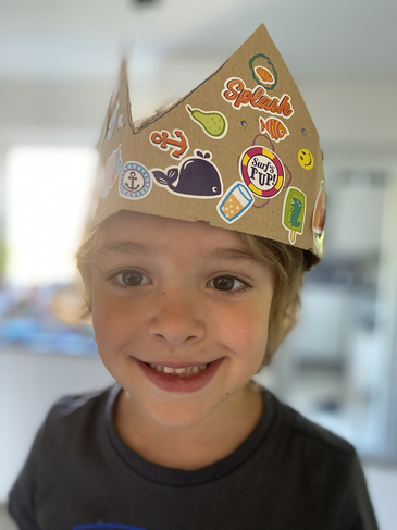 Making his own crown.