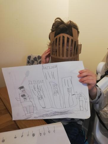 Drawing and labelling a castle.
