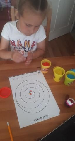 Doing spirals with play-dough