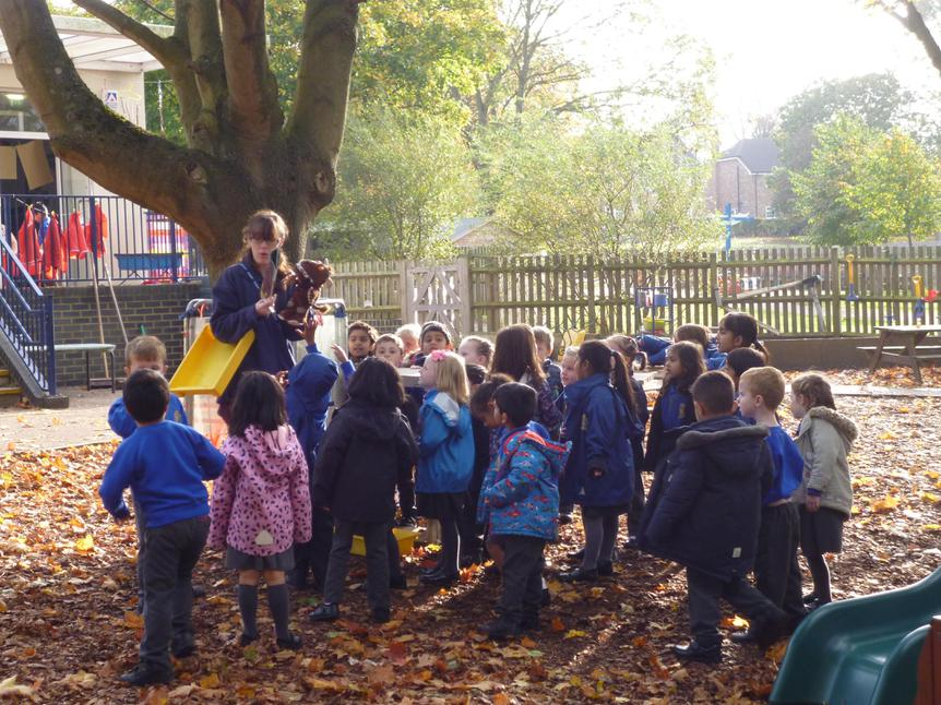 We acted out stories in the forest school.