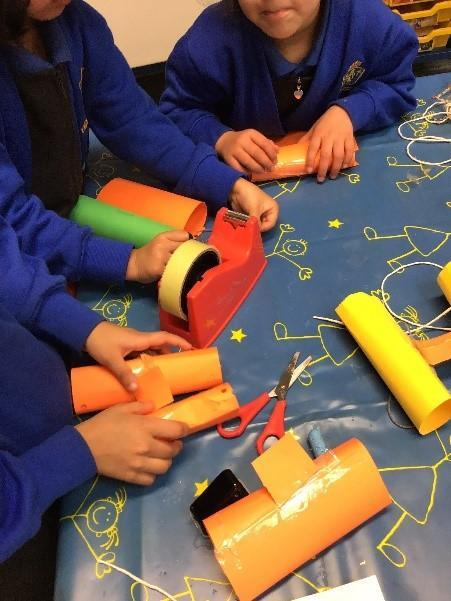 Reception - making binoculars -cutting and joining