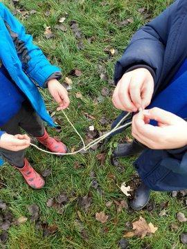 Tying shoe lace knots