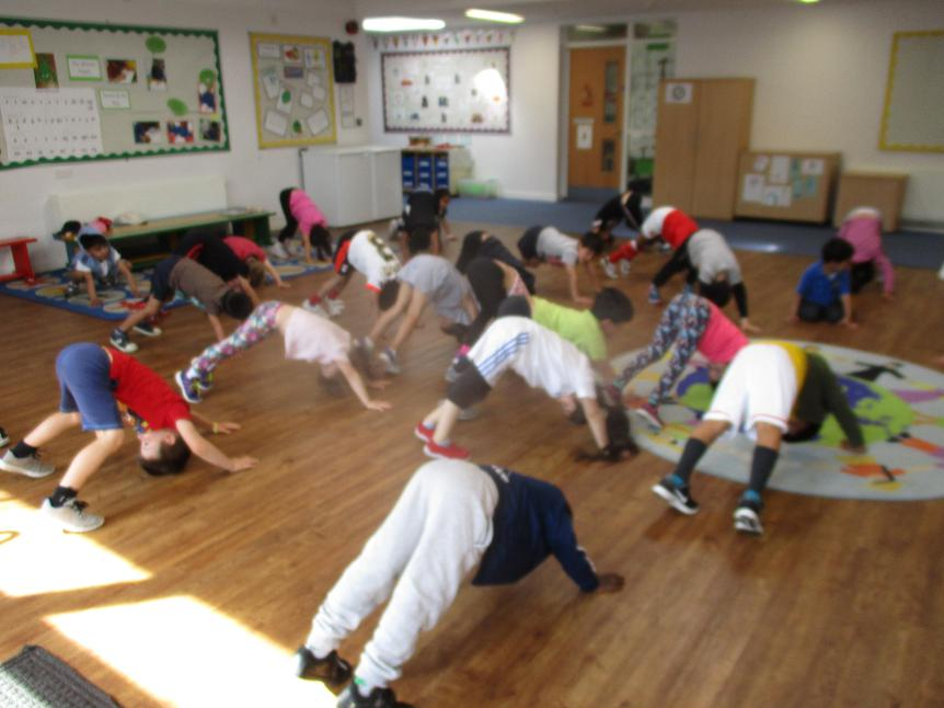 Reception had a Yoga lesson from Neve's mummy.