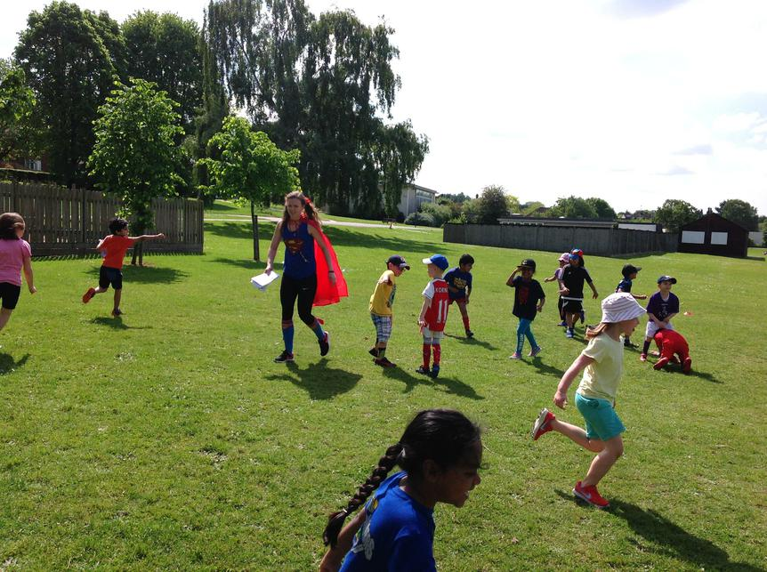 CJS hosted 'super-hero fitness' for Year 1.