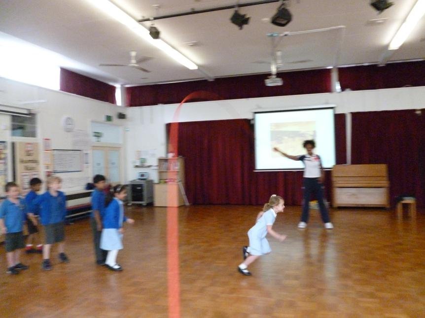 Year 1 undertook the 'rope of fear' challenge.