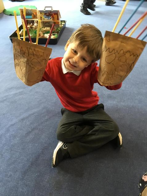 Bear paws made from paper bags.