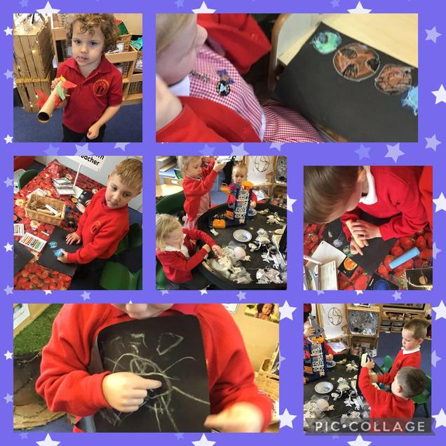 We have been using new vocabulary in our play. We have recreated images of planets.