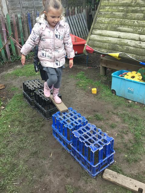 A bridge made of crates.