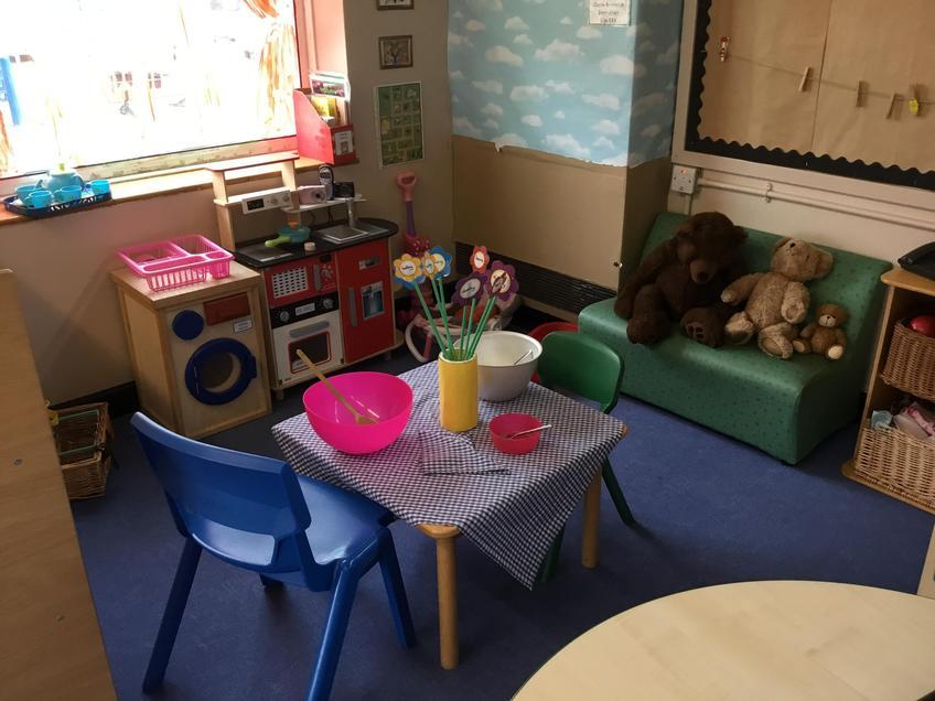 A role play area set up as Goldilocks house.