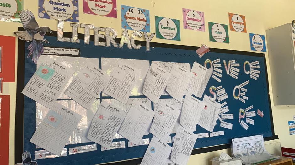 Pupils' writing displayed